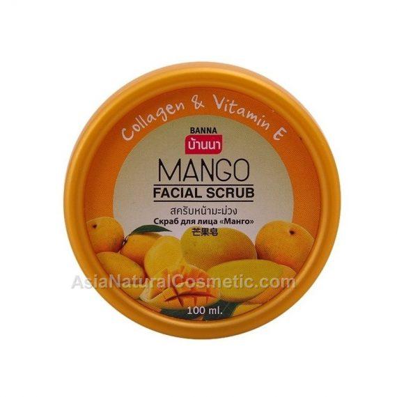 Скраб для лица с экстрактом Манго коллагеном и витамином Е (BANNA Mango Facial Scrub Collagen & Vitamin E)