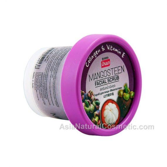Скраб для лица с экстрактом Мангостина коллагеном и витамином Е (BANNA Mangosteen Facial Scrub Collagen & Vitamin E)