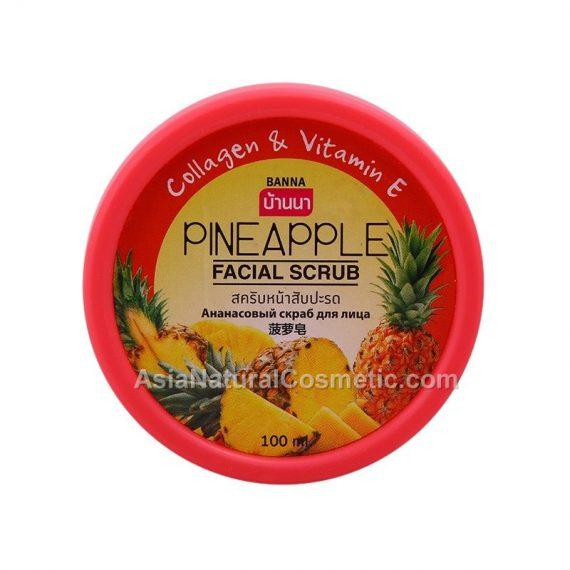 Скраб для лица с экстрактом Ананаса коллагеном и витамином Е (BANNA Pineapple Facial Scrub Collagen & Vitamin E)